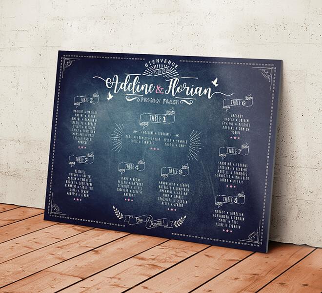 Plan de table de mariage champêtre - aspect ardoise et craie pour un style vintage qui donnera une touche campagne chic à votre mariage. © www.alpagart.fr