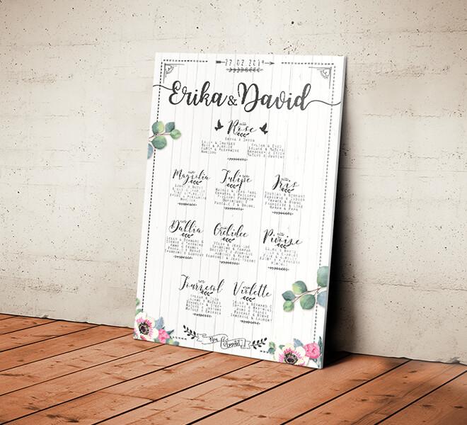 Plan de table de mariage champêtre - effet bois blanc style bohème vintage qui donnera une touche campagne chic à votre mariage. © www.alpagart.fr
