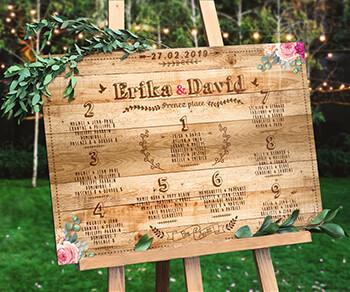 Plan de table de mariage champêtre - effet bois champêtre style palette vintage qui donnera une touche campagne chic à votre mariage. © www.alpagart.fr
