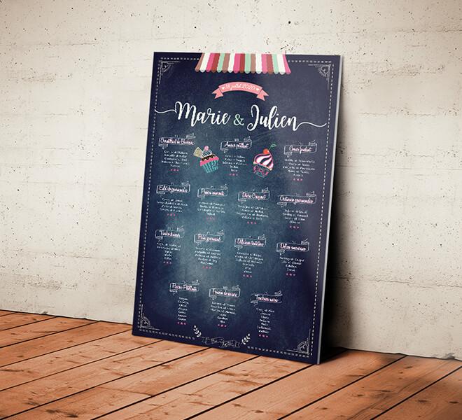 Plan de table de mariage gourmand - aspect ardoise et craie pour un style vintage pour votre mariage champêtre sur le thème de la gourmandise © www.alpagart.fr