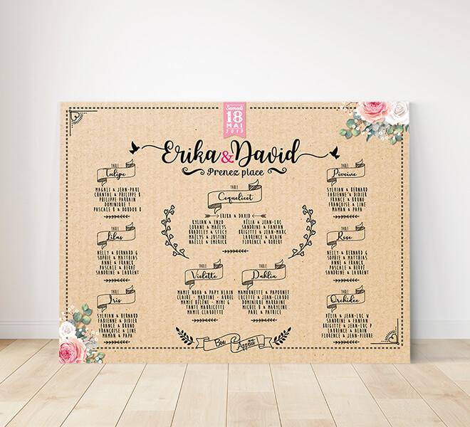 Plan de table de mariage - aspect kraft et écritures vintage qui donnera une touche campagne chic à votre mariage. © www.alpagart.fr