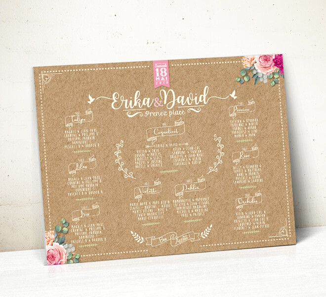 Plan de table de mariage - aspect liège et écritures vintage qui donnera une touche campagne chic à votre mariage. © www.alpagart.fr