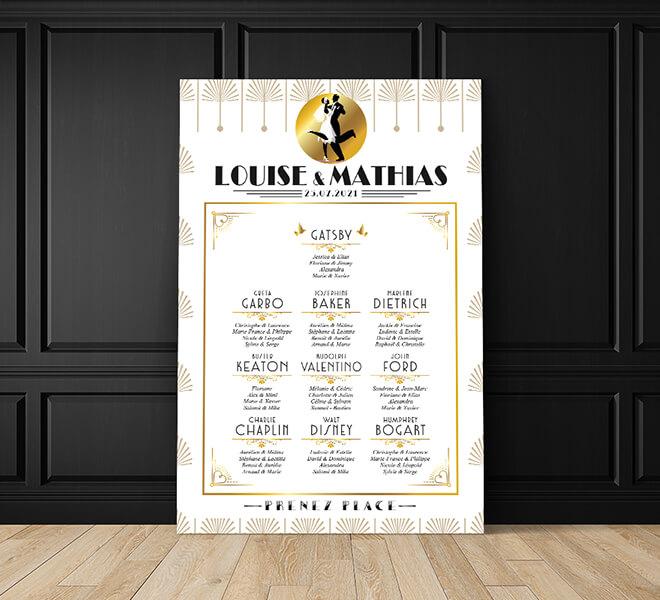 Plan de table de mariage années 20 - Gatsby or et noir pour un mariage années folles chic et rétro - doré et blanc film noir et blanc vintage classique chic © www.alpagart.fr