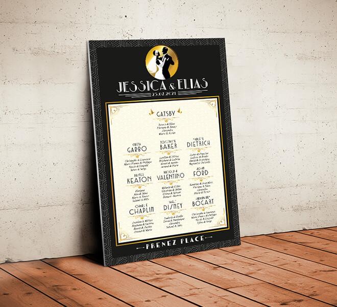 Plan de table de mariage années 20 - Gatsby or et noir pour un mariage années folles chic et rétro film noir et blanc vintage classique chic © www.alpagart.fr