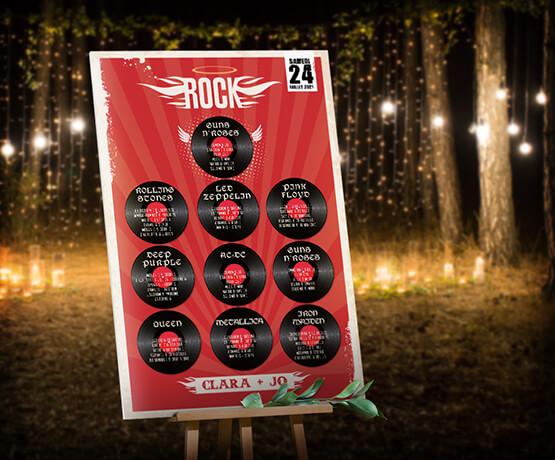 Plan de table de mariage rock n'roll - rouge et noir avec disques vinyle pour un mariage thème musique rock hardrock - tatoo - pinup © www.alpagart.fr