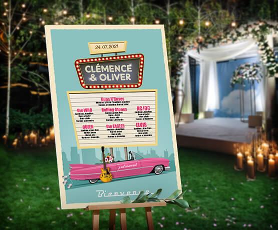 Plan de table de mariage rétro - rockabilly bleu et rose poudré. Quand l'Amérique vintage des années 50-60 s'invite à votre mariage. cadillac rose - panneau vintage rétro cinéma drive inn © www.alpagart.fr