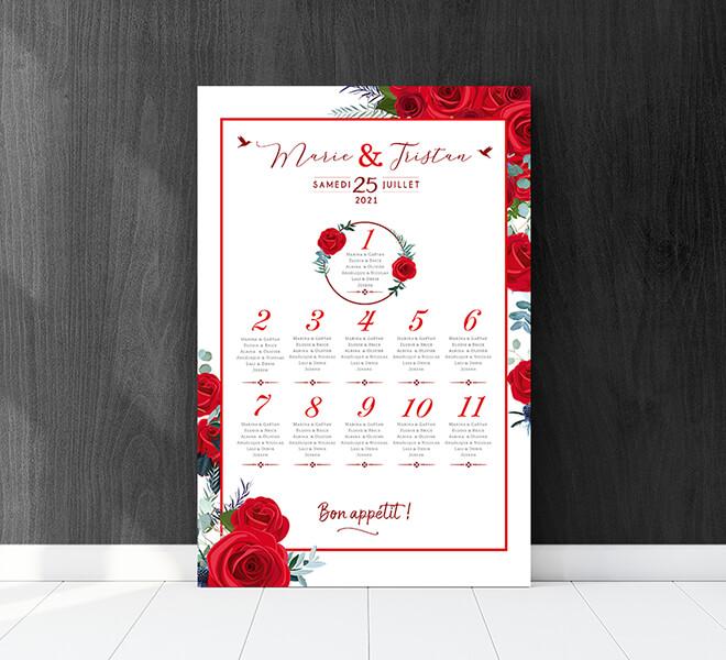 Plan de table de mariage romantique chic avec roses rouges pour un mariage sur le thème de l'amour passion - couleur blanc et rouge © www.alpagart.fr