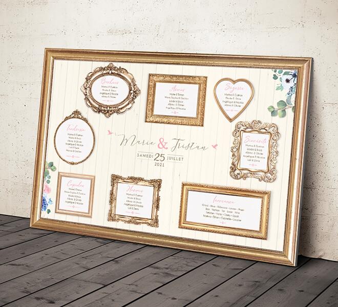 Plan de table de mariage original - trompe l'oeil jeu de cadres dorés pour un mariage sur le thème romantique vintage - crème pastel et doré © www.alpagart.fr