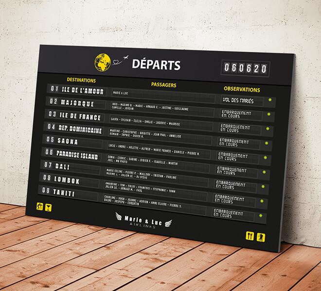 Plan de table de mariage sous forme de panneau d'aéroport, board d'embarquement avion pour un mariage sur le thème du voyage avec les destinations pour chaque table © www.alpagart.fr