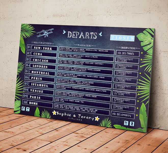 Plan de table de mariage original sous forme de panneau d'aéroport, board d'embarquement avion pour un mariage sur le thème du voyage - îles tropicales - avec les destinations pour chaque table © www.alpagart.fr